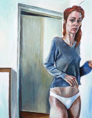 Autoportret - akril na šperploči, 28x36cm, 2016.