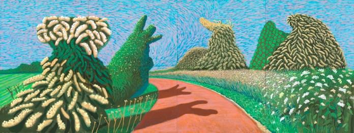 """David Hockney - """"Procvjetali glog uz rimsku cestu"""", 2009., ulje na osam platna (91,4 x 121,9 cm dimenzije svakog platna), 182,9 x 487,7 cm ukupno © David Hockney, foto: Richard Schmidt"""