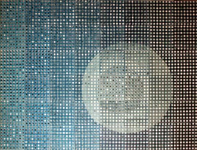 Blue-S, 2016., linorez/pečat, 120x160 cm