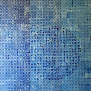 Handoffset CMYK (C), 2013., linorez/pečat, (9 segmenata), 120x120cm