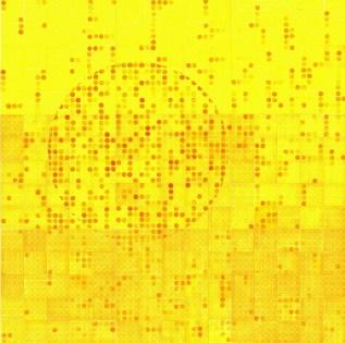 Handoffset CMYK (Y), 2013., linorez/pečat, (9 segmenata), 120x120cm