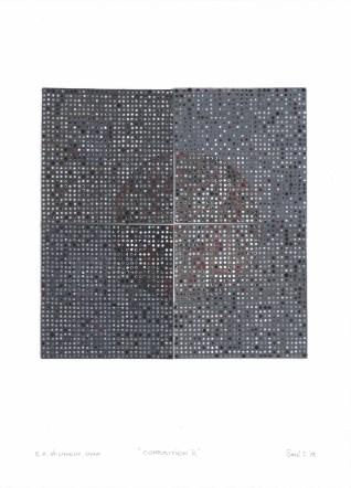 Kompozicija R, 2017., linorez/pečat, 55x40cm