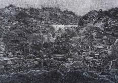 Čistina u središtu slike, crni tuš i akril na ručno rađenom papiru, 21x29,7cm