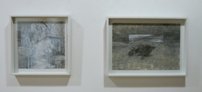 Lijevo: Dan paljenja, desno: Planina Medika, olovka i akril na toniranom papiru