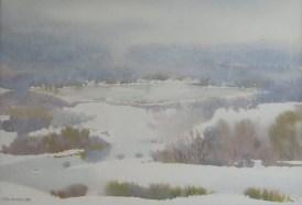 Milivoj Svoboda - Jezera zimi, akvarel, 30x45cm, 1988.