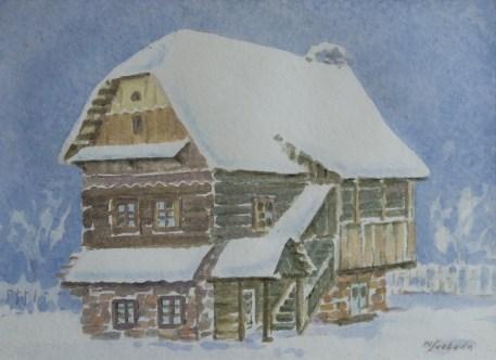 Milivoj Svoboda - Selo roda, akvarel, 30x40cm