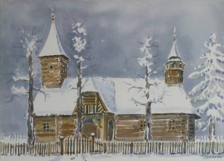 Milivoj Svoboda - Velika Mlaka - Turopolje, akvarel, 28x38cm