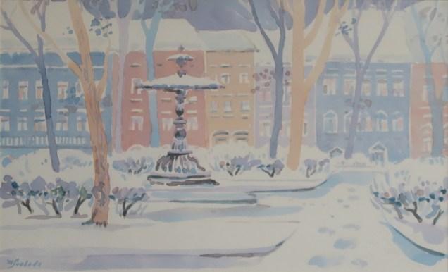 Milivoj Svoboda - Zrinjevac zimi, akvarel 26x41cm