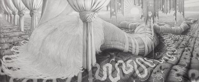 Ostani lijep, 2014-2019., olovka na papiru, 114 x 263 cm