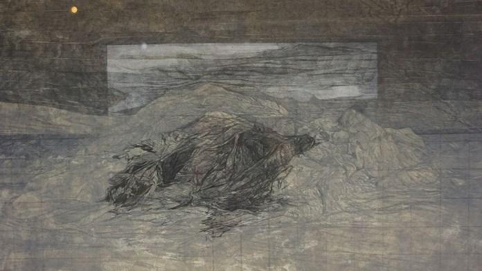Planina Medika, akril i olovka na papiru, 40x57cm