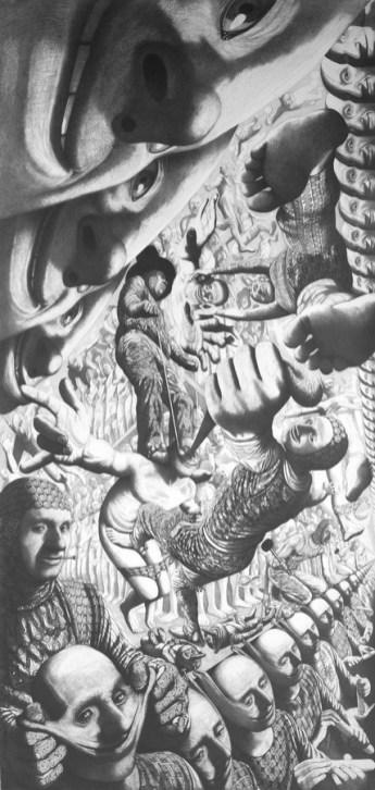 Raj, 2001., olovka na papiru, 230 x 107 cm