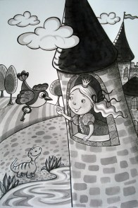 Željka Mezić - Žemlja je okrugla; lavirani tuš i flomaster, 2014.