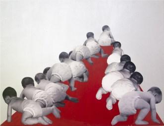 Ana Hercigonja Gutschy - Gospodari budućnosti; kombinirana tehnika na platnu, 50x70cm, 2013.