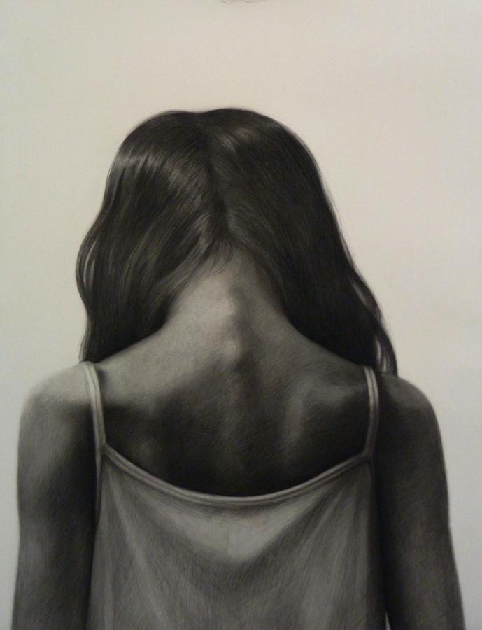 U svojim mislima - crtaći ugljen na akavarel papiru, 90x70cm, 2015.