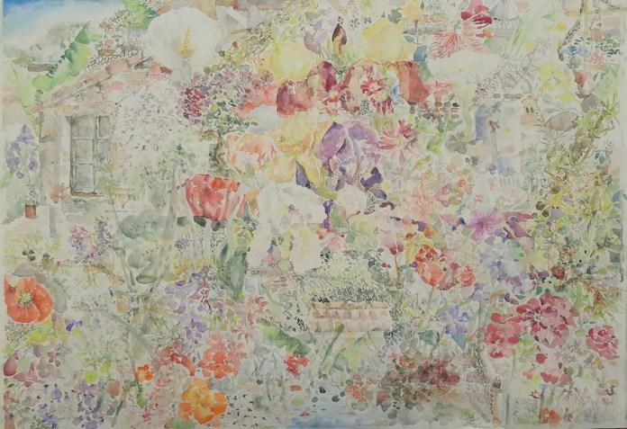 My fairytale garden, akvarel, 100 cm x 70 cm, 2020.