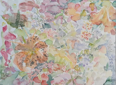 Summer flowers, akvarel, 23 cm x 31 cm, 2020.