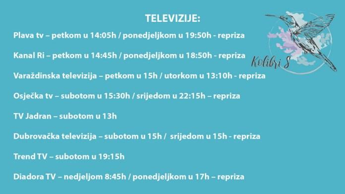 Raspored emitiranja emisije KolibriS na televizijama