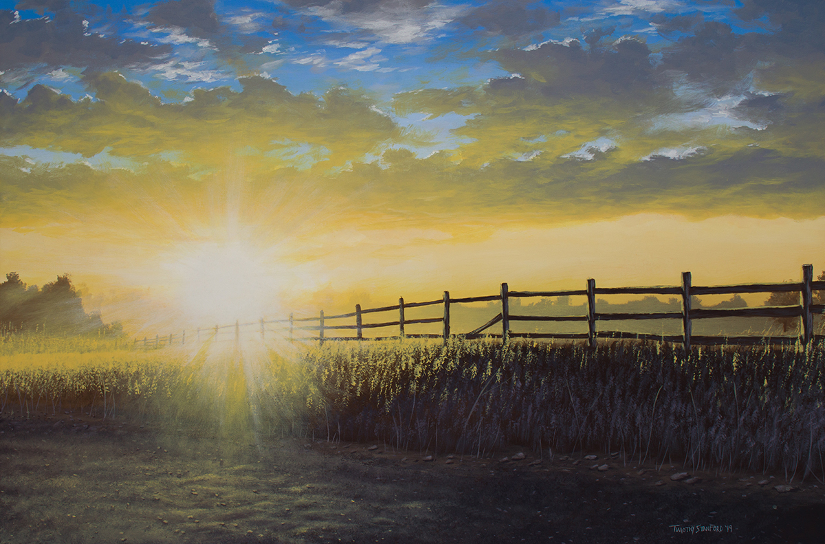 Acrylic landscape painting of a golden sunrise over a field with a fence in Louisiana.