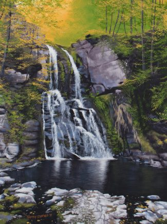 This waterfall at Bushkill displays numerous forms of contrast; the strong darks against the piercing lights, rigid edges against smooth gradients, bright yellows and greens against dull grays and blues, and the lively falls calmly settling into the quiet pool below.