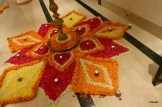 A flower decoration with marigolds, rose and jasmine at a Diwali party