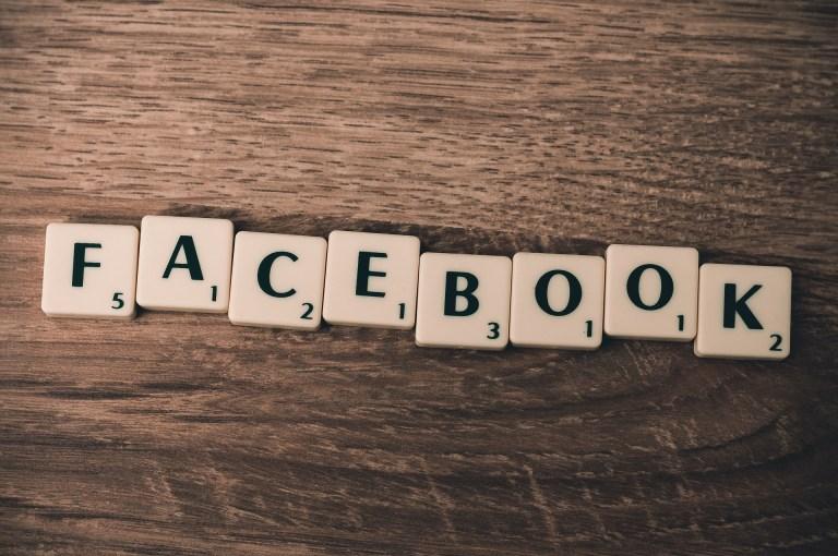 Facebook spelled using Scrabble blocks