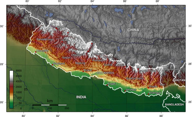 A geographic map of Nepal showing its hydropower potential.