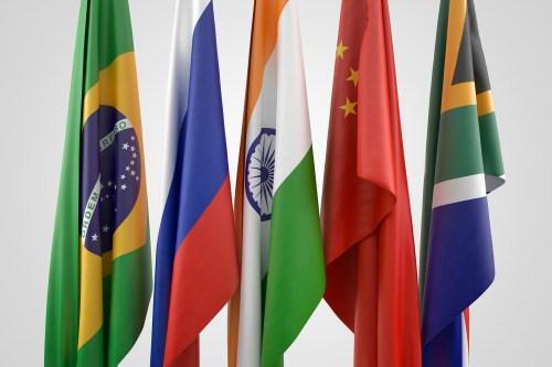 Flags of BRICS nations.