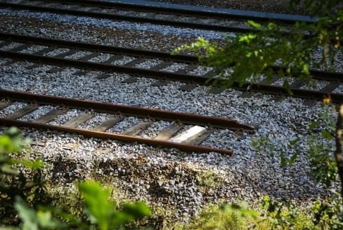 A broken railway track