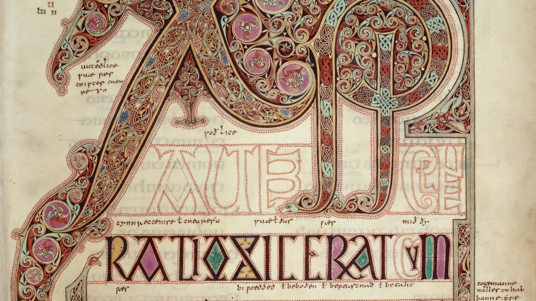 Page with Chi Rho monogram from the Gospel of Matthew in the Lindisfarne Gospels c. 700, possibly created by Eadfrith of Lindisfarne in memory of Cuthbert