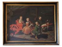 ©Pittore romano del XVIII secoloRitratto di quattro bambini della famiglia di Carpegna Gabrielli, III quarto del XVIII secolo Olio su tela, 167x217 cm. Collezione privata