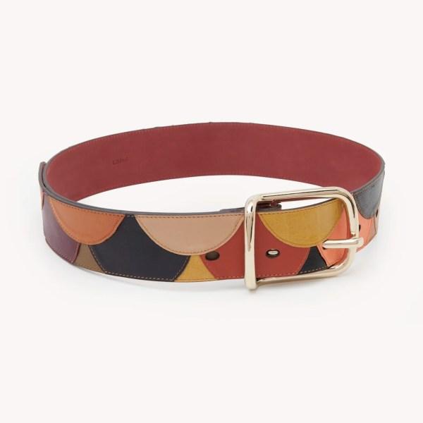 Cinturón Scallops de patchwork de cuero de cordero y cuero de becerro
