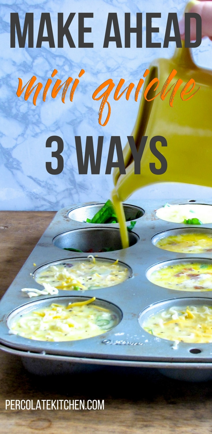 I am LOVING these easy, low-carb make ahead breakfast egg muffins on busy mornings! I just make a tray ahead of time, pop in the freezer, and we can eat them for a healthy breakfast throughout the week. This post has three different kind of fillings ideas, too!