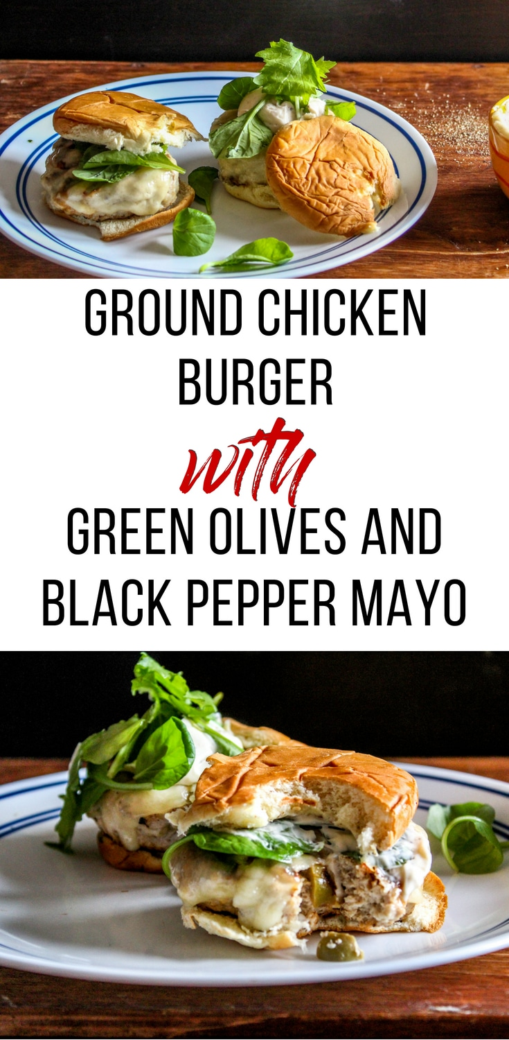 I love these ground chicken burgers as an easy low-carb burger alternative! I wasn't so sure about the green olives she adds to the burger mix but they added a lot of extra moisture and flavor, so don't skip them. The black pepper mayo was a good condiment!