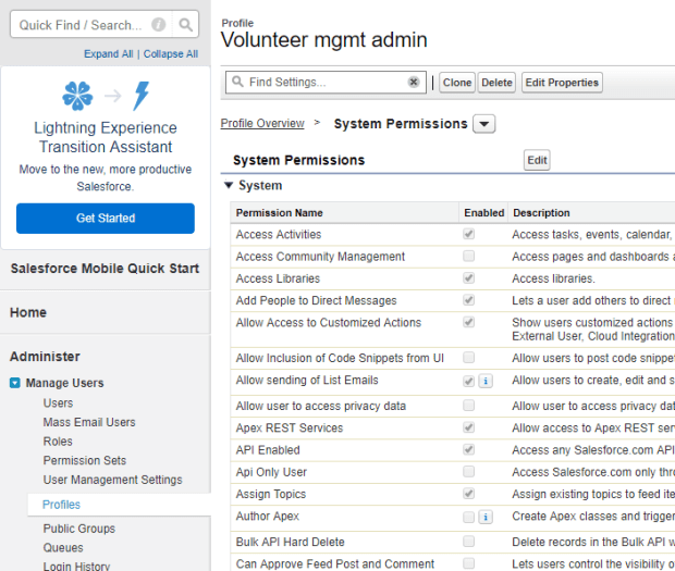 top of salesforce profile managment page