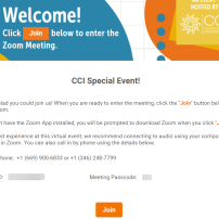 CCI welcome screen with event description and Join button