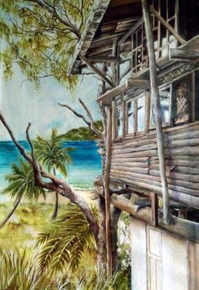 'Percy Tree House - Ocean View' 65 x 90cm