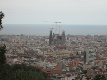 View of Sagrada Familia from the stone tower we climbed.