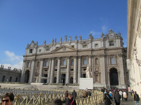 The outside of the basilica. It's a huge building.