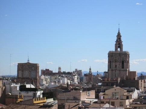 Perfect view of the top of the cathedral and the Miguelete (the bell tower)/