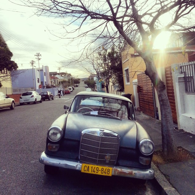 A grand old car spotted on an icy cold day in Woodstock. My friend, Dawid and I were on a mission to find Madiba-related street art. We didn't find much, but did spot this beauty and also popped into a house viewing :)