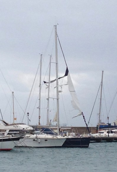 A ripped foresail in the 40+kt winds is enough to ruin your day