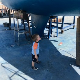 Checking out the antifouling on another boat...