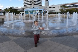 Messing about in the fountains in Kobe Port