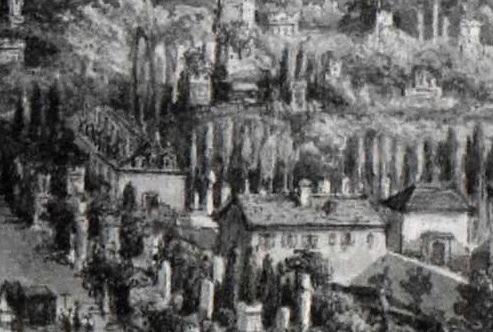 L'orangerie (bâtiment de gauche) en 1837 - Un enterrement au cimetière du Père-Lachaise