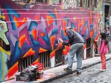 Artist at work in Hosier Lane
