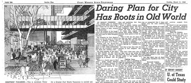 Source:  Headlines in the Fort Worth newspaper announcing the Gruen Plan for Fort Worth