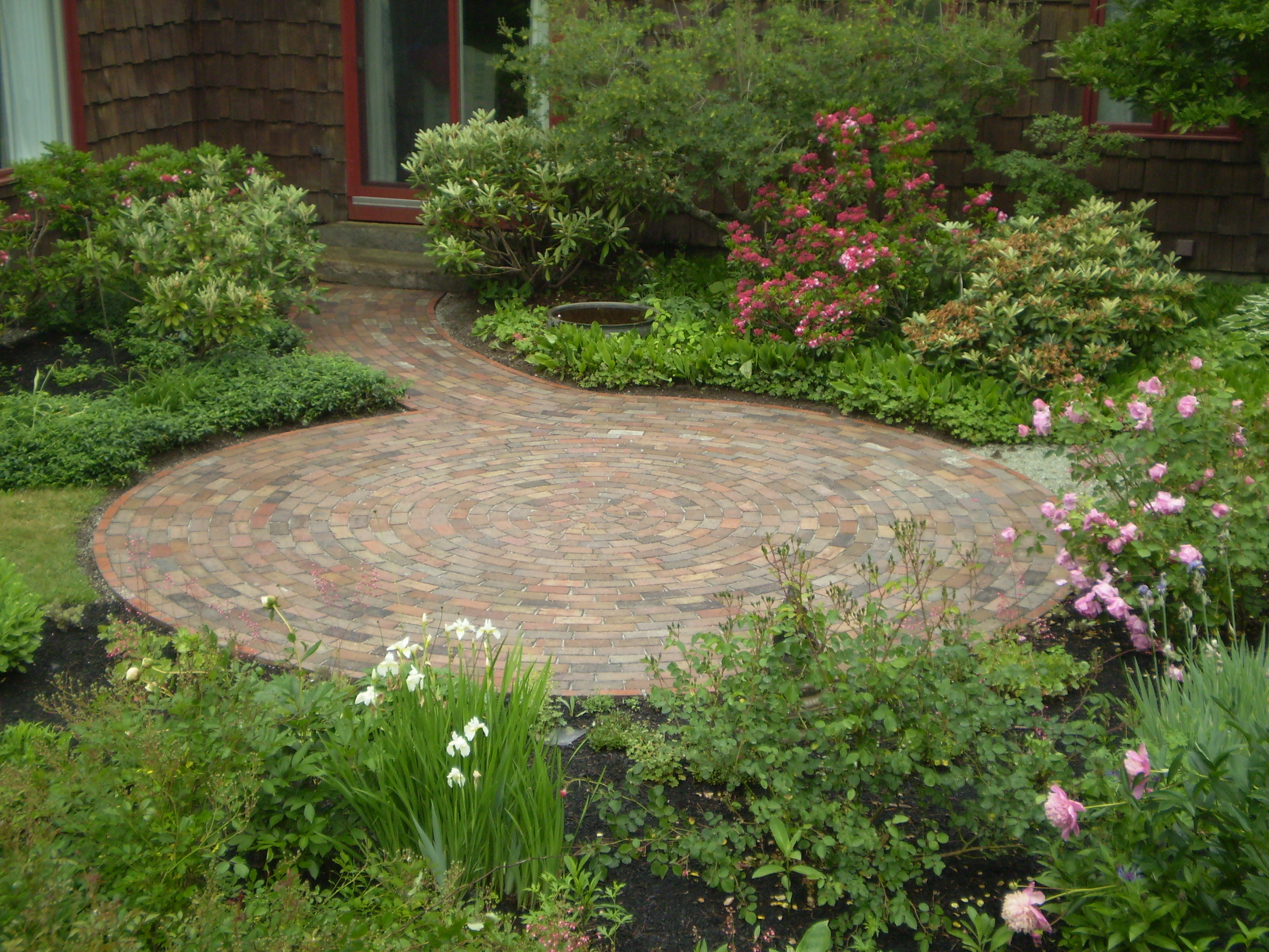 Reclaimed-Brick Patio, Cumberland Foreside, Maine ... on Small Backyard Brick Patio Ideas  id=88919