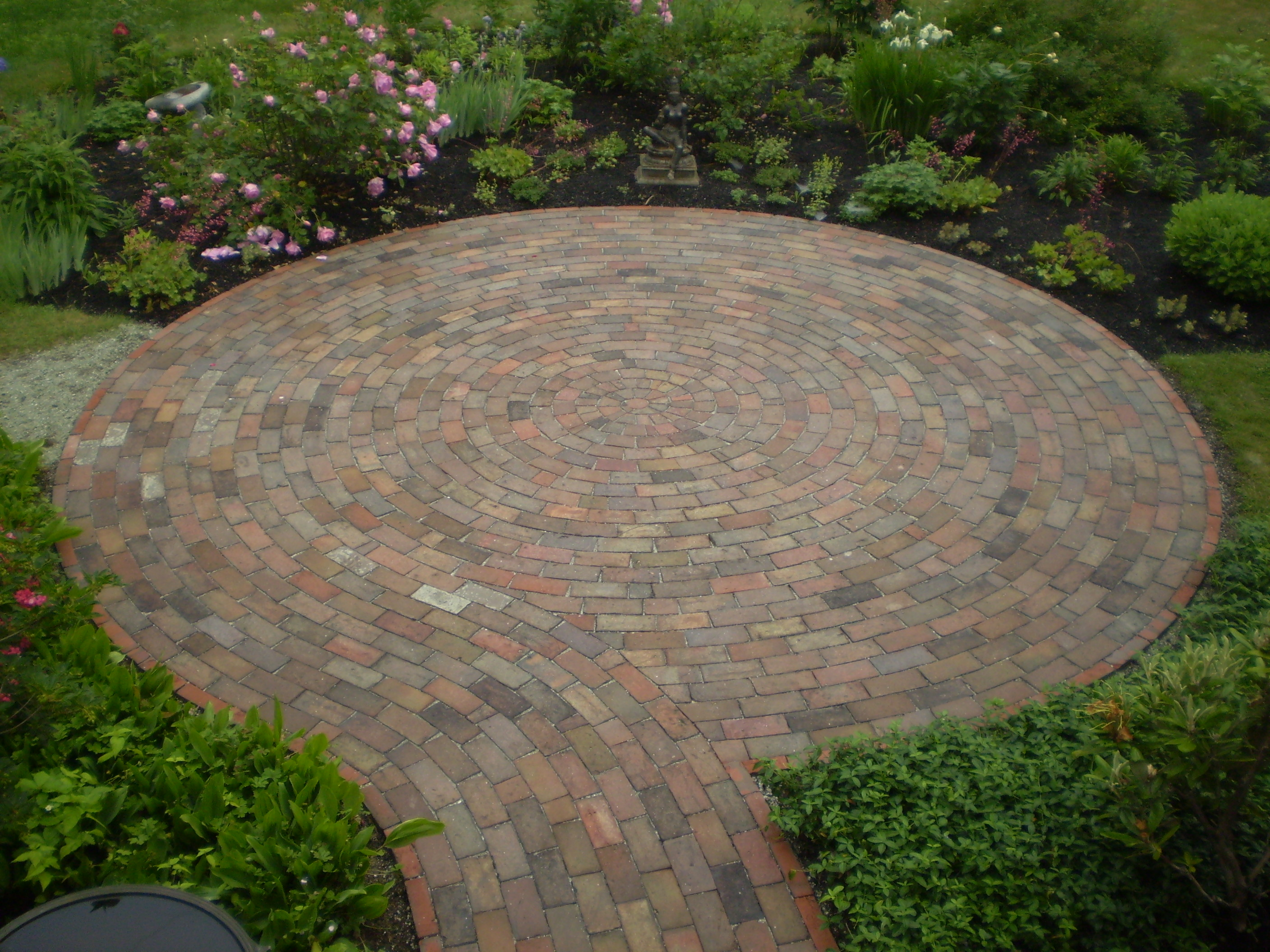 Reclaimed-Brick Patio, Cumberland Foreside, Maine ... on Small Backyard Brick Patio Ideas  id=36035