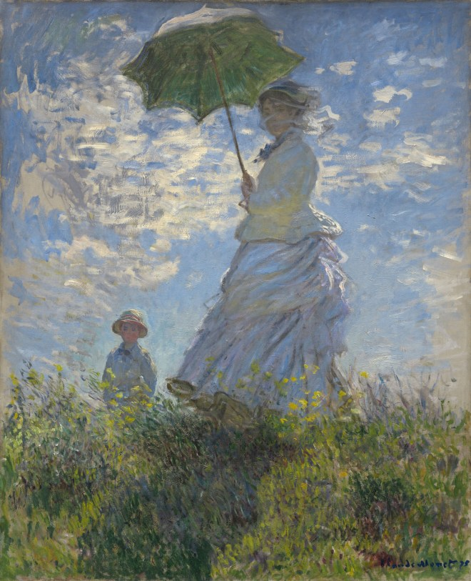 Claude Monet (French, 1840 - 1926 ), Woman with a Parasol - Madame Monet and Her Son, 1875, oil on canvas, Collection of Mr. and Mrs. Paul Mellon