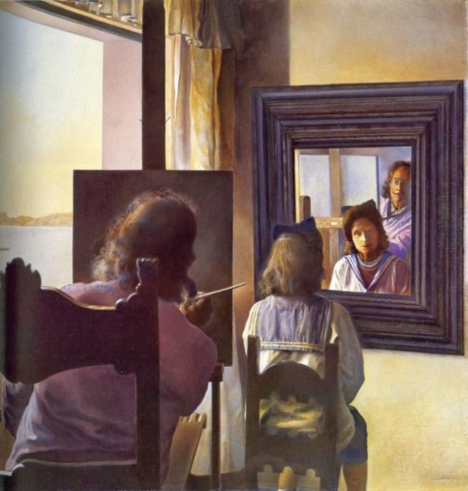 dali-from-the-back-painting-gala-from-the-back-eternalized-by-six-virtual-corneas-provisionally-reflected-in-six-real-mirrors-1973